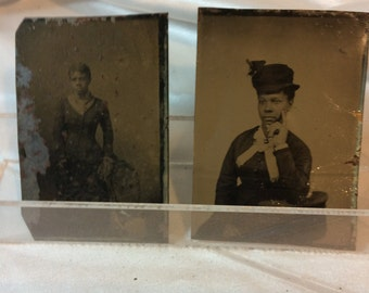2 Civil War era TINTYPES of well dressed, lovely African American Women