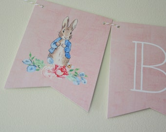 Peter Rabbit Theme. Peter Rabbit Banner. Floral Banner. Bunny Banner. Baby Shower. Party Decorations. Custom Banner. New Baby. Mom to be.
