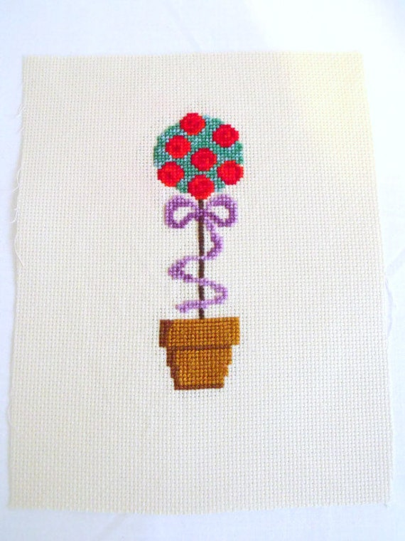 rose cross stitch picture, topiary counted cross stitch to frame, garden wall art, floral embroidered picture