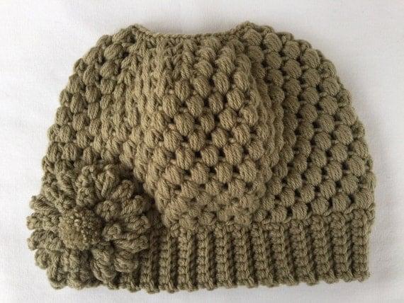 Ready to Ship**Free Shipping/Messy Bun Hat/Crochet Taupe Bun Beanie Hat/Tan Messy Bun Hat/Bun Beanie/Ponytail Hat/Knit Knitted Bun Beanie