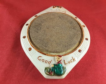 Teapot Stand by Manor Ware Pottery 1950's Tourist Ware Depicting Good Luck Pixie and Bournemouth