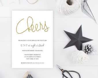 New Years Eve Party Invitation, Cheers, New Years Invitation, 2018, Ring in the New Year, Printable New Years Party Invitation, Gold [87]