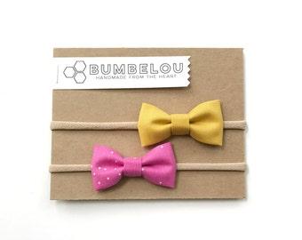Classic Fabric Bow Set - Mustard + Magenta Sprinkles - Headband or Clip
