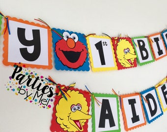 Sesame Street Birthday Banner- Sesame Street Birthday Party-Sesame Street paper banner-Sesame Street Sign-Elmo Banner-Elmo Birthday Banner