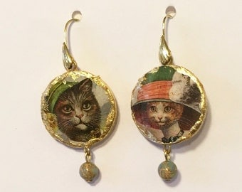 """Earrings with gold leaf. """"Anthropomorphic animals"""""""