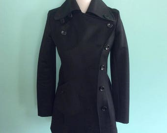 Black 1960 Style Double Breasted Mod Coat with Asymmetric pocket and buttons - Women's Size UK 8