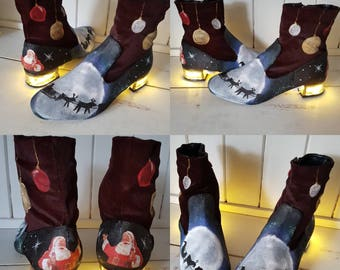 Christmas light up Santa nightsky boots. Fantasy Christmas festive