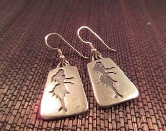 Vintage Sterling Silver Hula Girl Earrings
