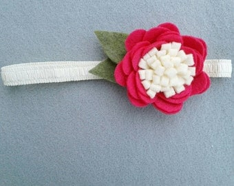 Medium Felt Flower Baby/Toddler/Child Headband, Dark Pink