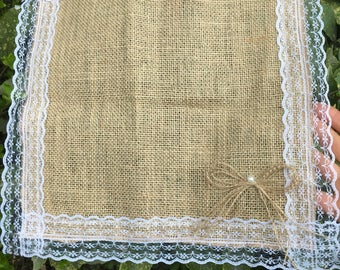 1pc Burlap Placemats,  Burlap and Lace 13inchesx13inches,Rustic Table Placemat
