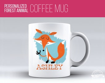 Personalized Fox Coffee Mug - Cup, Dishwasher and Microwave Safe, Custom Name Ceramic Mug, Original Artwork, Printed on BOTH sides