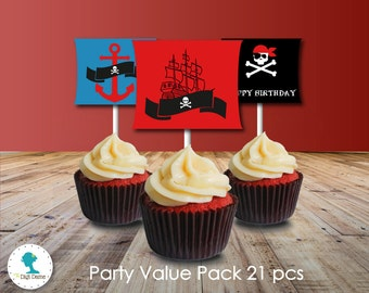 Pirate Party Printable Value Pack in Blue, Red & Black, Instant Download