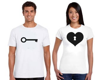 Key of Heart, Couple t shirts, Personalised gifts, Gift ideas, graphic t shirts, Custom t shirts, Iron on, Heat transfer, Matching shirts