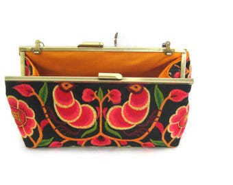 Orange Clutch Purse, Clutch Purse, Embroidered Clutch, Summer Clutch Purse, Colorful Clutch, Clutch with Strap, Small Clutch, Floral Clutch