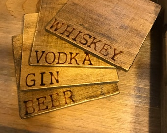 Drink of Choice Coaster Set // Distressed Coaster Set // Wood Coasters (set of 4)