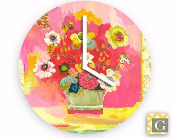 Wall Clock by GABBYClocks - Lime Glory by Kimberly Hodges