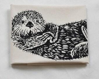 Otter Tea Towel - Sea Otter Kitchen Towel - Flour Sack Towel - Cotton Dishcloth - Screen Printed - Animal Tea Towels - Floursack Dish Towel