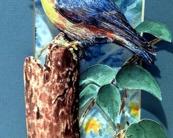 3-D Bird Paper-Cut:  Bird in Garden