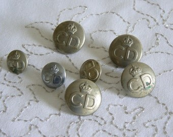Four Large and Three Small Civil Defence Buttons from WWII - A Little Piece of History!