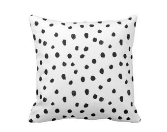 "Dots-Scape Throw Pillow, Modern Black and White Print 16 or 20"" Square OUTDOOR or INDOOR Pillows"