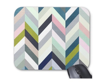 Pastel Herringbone Mouse Pad, Colorful Pastels Modern Chevron Mousepad, Blue/Green/Pink/Gray