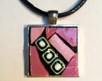 Smalti mosaic abstract square pendant