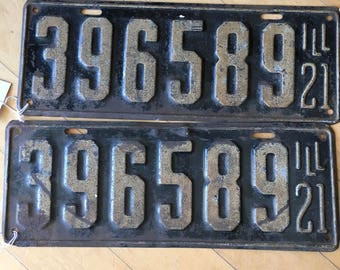 1921 IL Illinois Pair of License Plate