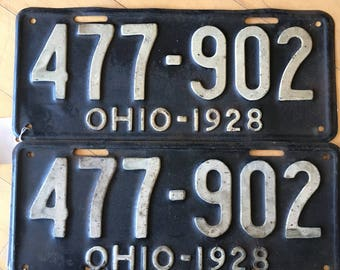 1928 OH Ohio Pair of License Plate