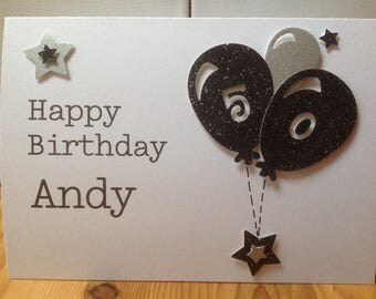 Handmade male birthday card personalised - age 18, 21,30,40,50 etc.... personalised with name and age