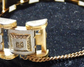 1950s Vintage COUTURE Chunky Enameled Gold Signature Arms Link Bracelet with Security Chain
