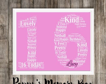 Personalised Sweet 16th Birthday Number 16 Word Art Bespoke Print Poster Gift 21x30cm A4 ANY COLOUR Free UK P&P