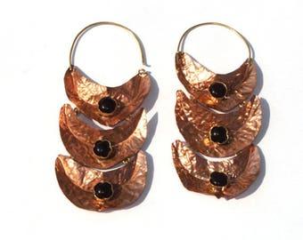 Copper Hoop Earrings - Purple Amethyst Earring - Gemstone Designer Earring - Rustic Earrings - Organic Earring - Copper Jewelry