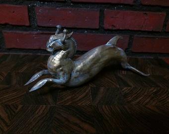 Hippocampus, fantasy aquatic creature, digital sculpture, 3D PLA plastic print, antique gold finish