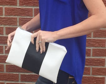 Black & White Faux Leather Clutch
