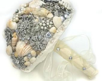 Seashell Bouquet / Beach Bouquet / Beach Bridal Bouquet / Seashell Brooch Wedding Bouqut. Ready To Ship
