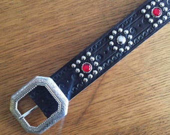 "Black leather rockabilly studded western belt ""squares"""