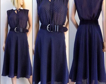 Vintage navy blue polka dot dress sheer chiffon midi dress pretty french dress size small