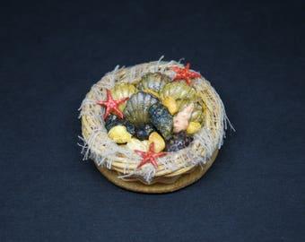 OOAK Scottish Shellfish Basket ~ Miniature Food ~ Dolls House Miniatures