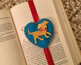 Puppy bookmark, dog bookmark, gift for reader, planner band, elastic bookmark, felt bookmark, book accessory, reading accessory