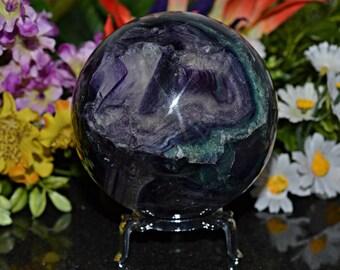 Fluorite Sphere, 84 MM , Fluorite Crystal Spheres, Fluorite Sphere