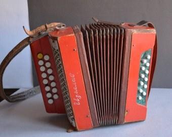 Children Bayan Soviet Button Accordion Vintage music Instrument Russian small harmonic Working condition