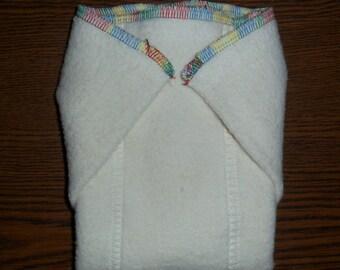 Hemp Organic Cotton Fleece Prefolds 10 x 12 RainbowTrim