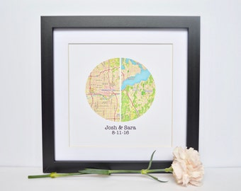 Unique Gift for Couples- Map Art, Engagement Gift, Map Theme Wedding, Personalized Name Gift, Custom Map Gift for Bride