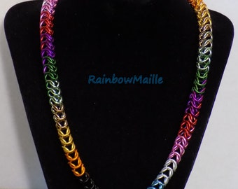 Rainbow Pride chainmaille boxchain rainbow necklace by RainbowMaille