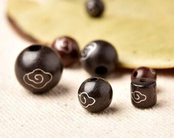 2pcs DIY Ebony 925 Silver Loose Beads for  Bracelets/Necklaces(Bead Sizes: 6-12mm)-WEN37746838691-GVN