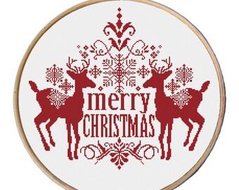 Christmas Deer cross stitch - Red Christmas cross stitch pattern PDF