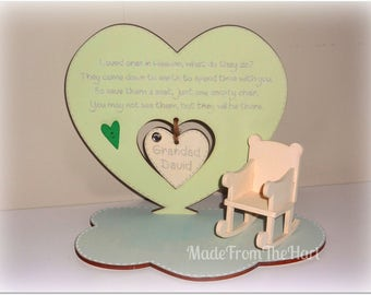 Loved Ones In Heaven Freestanding Heart Plaque with Rocking Chair