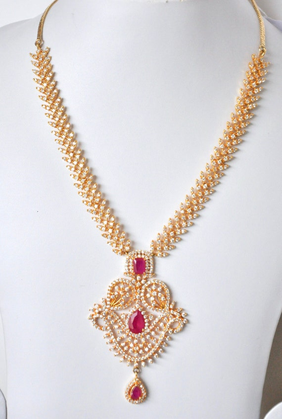 Gold plated cubic zirconia Indian necklace set with ruby stones | Indian bridal Jewelry set perfect for Indian weddings