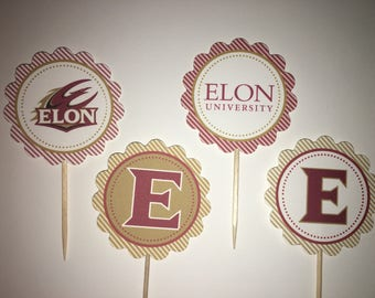 Elon University - 12  cupcake toppers