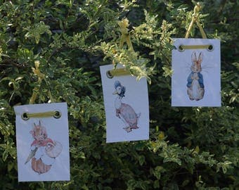 Beatrix Potter Prints - Peter Rabbit - Benjamin Bunny - Jemima Puddleduck - 5 x 7 - FREE Shipping in USA